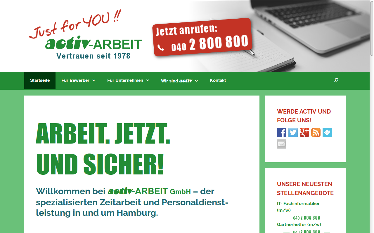 Screenshot of the activ-ARBEIT website