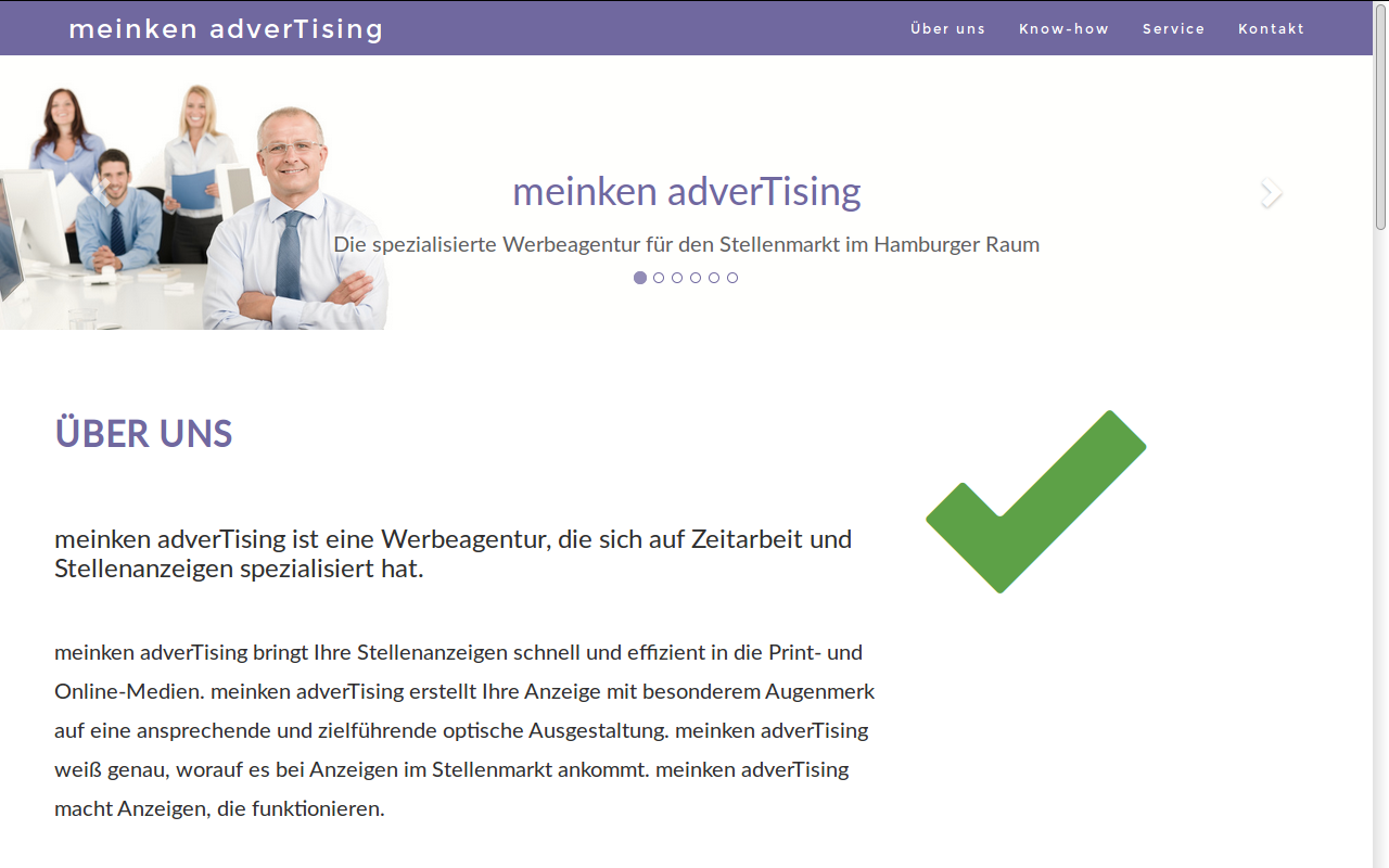 Screenshot of the meinken adverTising website