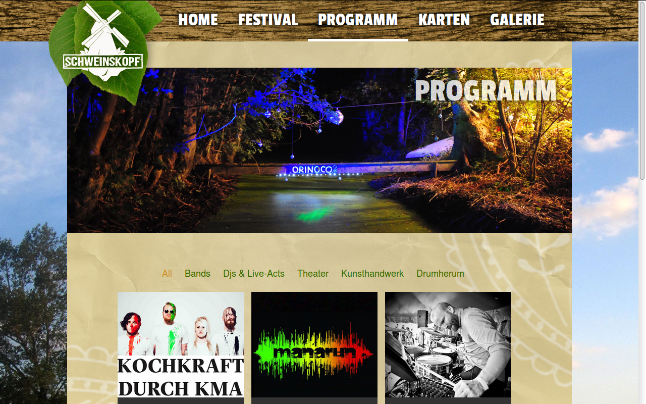 Screenshot of the website
